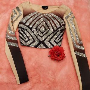 Bebe sequin long sleeve crop top